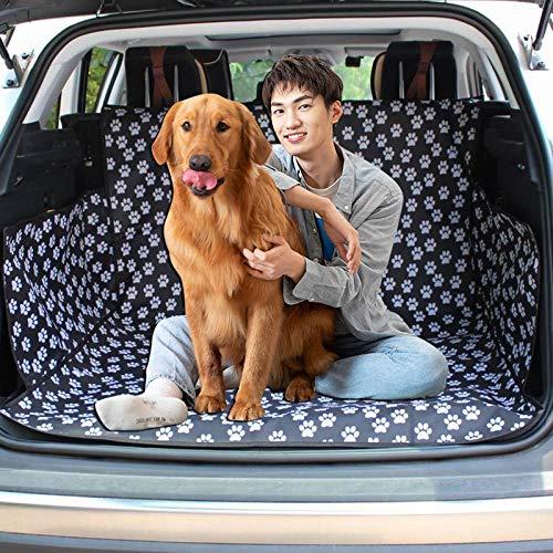 Ghongrm Telo per Baule Auto,Modello di Impronta Nera,Telo Bagagliaio Auto,for Dogs Pet Car Supplies