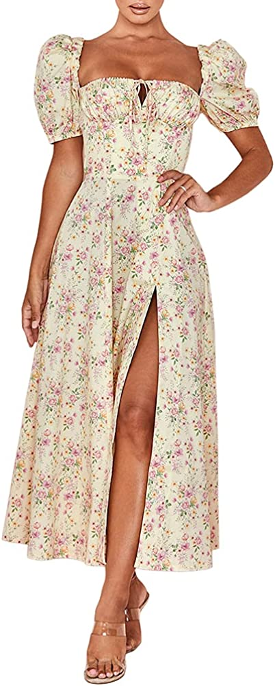 store Murfhee Women's Elegant Floral Print A-Line S Ruched Puff Reservation Sleeve
