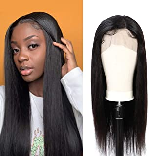 360 Lace Frontal Wig Peruvian Virgin Human Hair Straight Wigs 150% Density Pre-Plucked Hairline Natural Color 360 Lace Wigs with Baby Hair 16inch