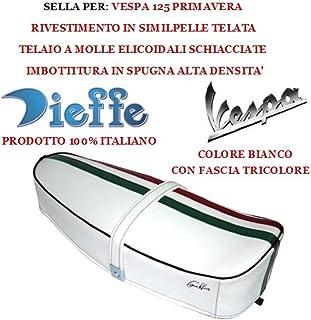 Sillín sillín Vintage para Vespa 125Primavera Tela de semilpelle blanco asiento dieffe p0030ftb con banda Tricolor dieffe relleno de esponja Made in Italy