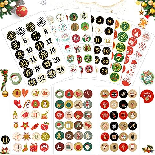 Sunshine smile Aufkleber Weihnachten Adventskalender 15pcs, Advent Calendar Numbers Stickers, Adventskalender Zahlen, zum Basteln und Dekorieren, Nummern Aufkleber, Geschenkaufkleber Weihnachten