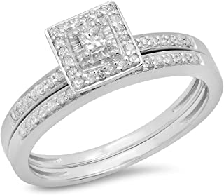 Dazzlingrock Collection 0.30 Carat (Ctw) Princess & Round Cut Diamond Ladies Bridal Halo Engagement Ring Set, Sterling Silver