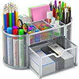 Mesh Desk Organizer Office Desktop Supplies Caddy Metal Stationary Holder Multifunctional Storage Decor with 8 Compartments and 1 Drawer for Office, Home, School by STOREMIC (Sliver)