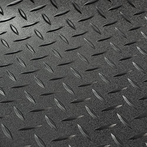 RV Trailer Diamond Plate Pattern Flooring | Black | 8' 6' Wide | Rubber Flooring | Garage Flooring | Gym Flooring | Toy Hauler Flooring | Car Show Trailer Flooring (Black, 10')