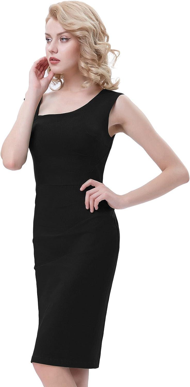 Belle Poque Women's 1950s Retro Sleeveless Pencil Dress Slim Business Dress Bodycon Dress
