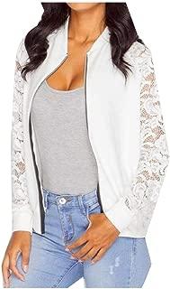 RkYAO Women's Lacework Long Sleeve Zipper Stitching Casual Outdoor Coats