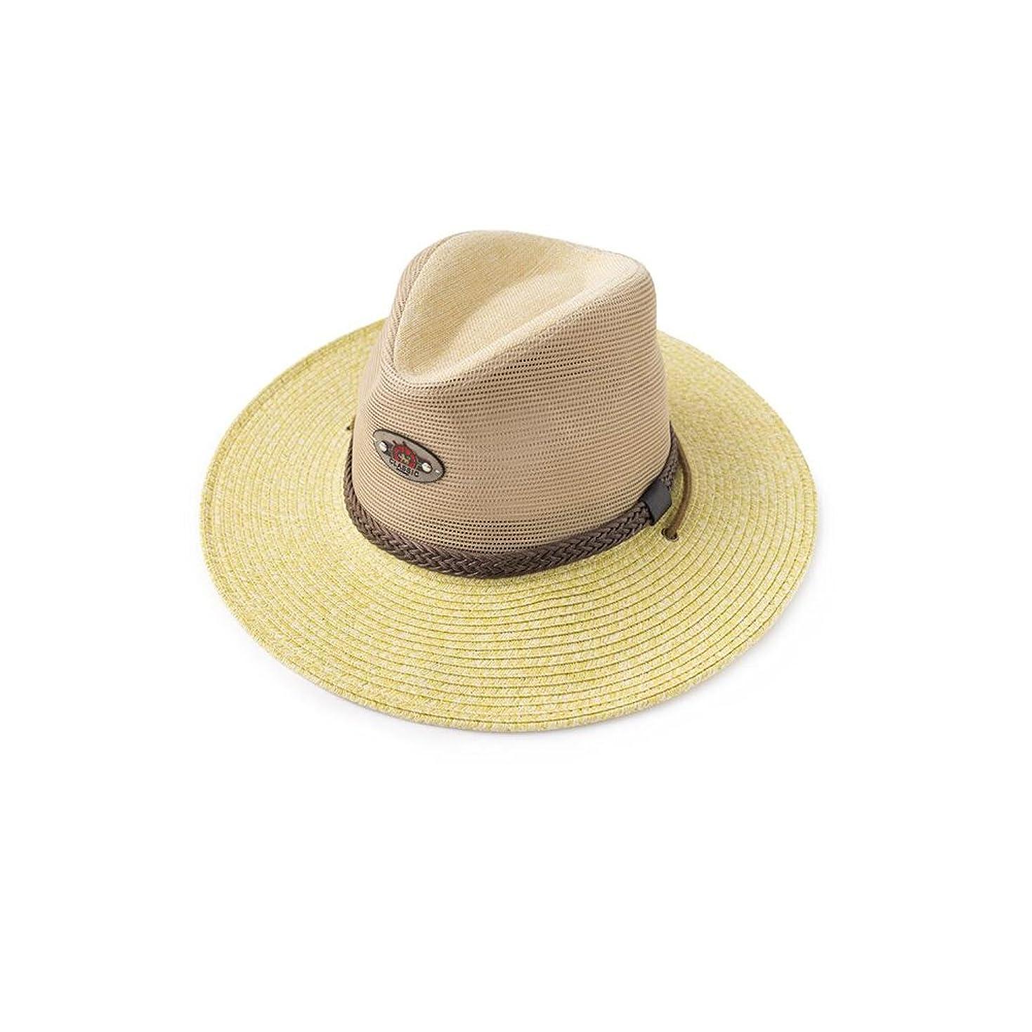コンピューターすみません火炎男性の麦わら帽子夏の屋外旅行登山黄色クールキャップ紫外線保護広いひさし太陽の帽子通気性メッシュ付きあごバンド