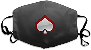 HBLSHISHUAIGE Spades Red Side Ace Card Adult Creative Mouth-Masks Washable Safety 100% Polyester Comfortable Breathable Health Anti-Dust Half Face Masks