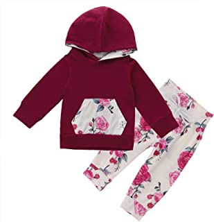 Baby Girl Long Sleeve Hoodie Outfit Floral Pocket Sweatshirt Flower Print Pants Headband Clothes Set