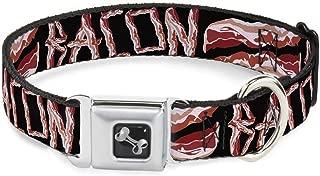 Buckle-Down Seatbelt Buckle Dog Collar - Bacon w/Text2