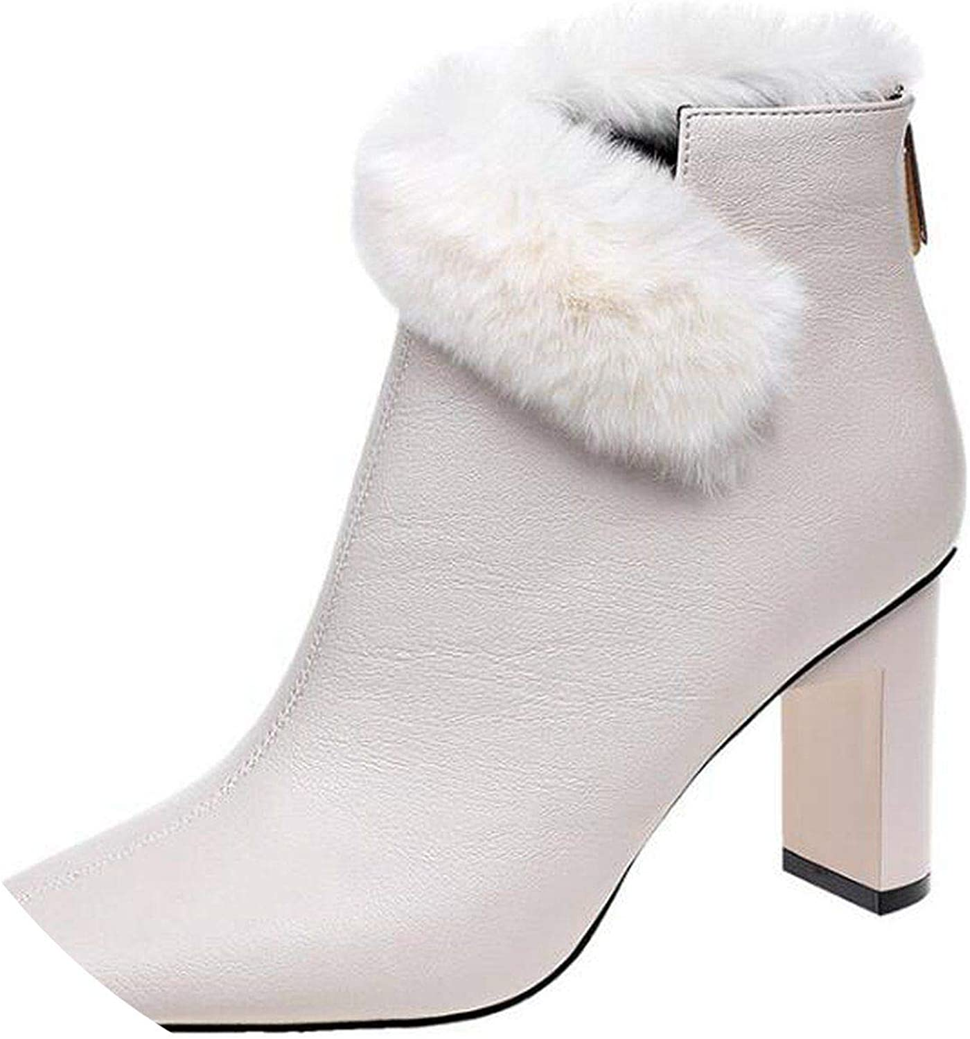Summer-lavender Fur Snow Boots Women Waterproof Ankle Boots Side Zip Square Head high Heel Winter Plush Martin Boots