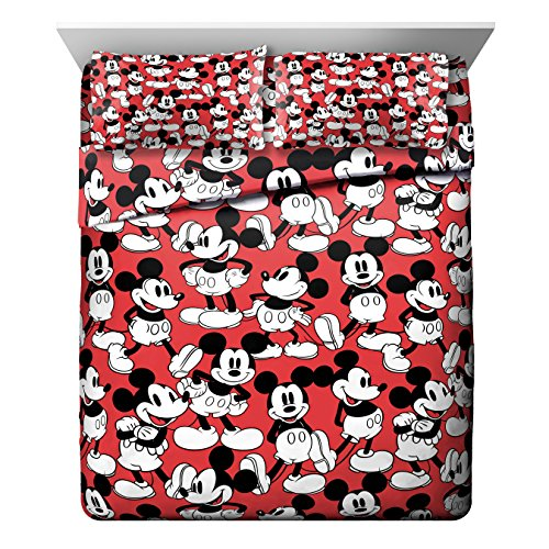 Buy Discount Jay Franco Disney Mickey Mouse Funny Red 4 Piece, Faces Queen Sheet Set