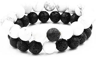 Belons Pulseras elásticas de 8 mm, cuentas de howlita blanca y piedra volcánica negra, pulsera buda, 2 piezas