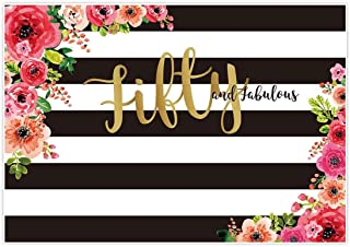 Allenjoy 7x5ft Fifty and Fabulous Backdrops Black and White Stripe Pink Paper Flower Banner Happy 50th Birthday Cheers to 50 Years Old Adult Women Prom Gold Glitter Party Decorations Supplies Favors