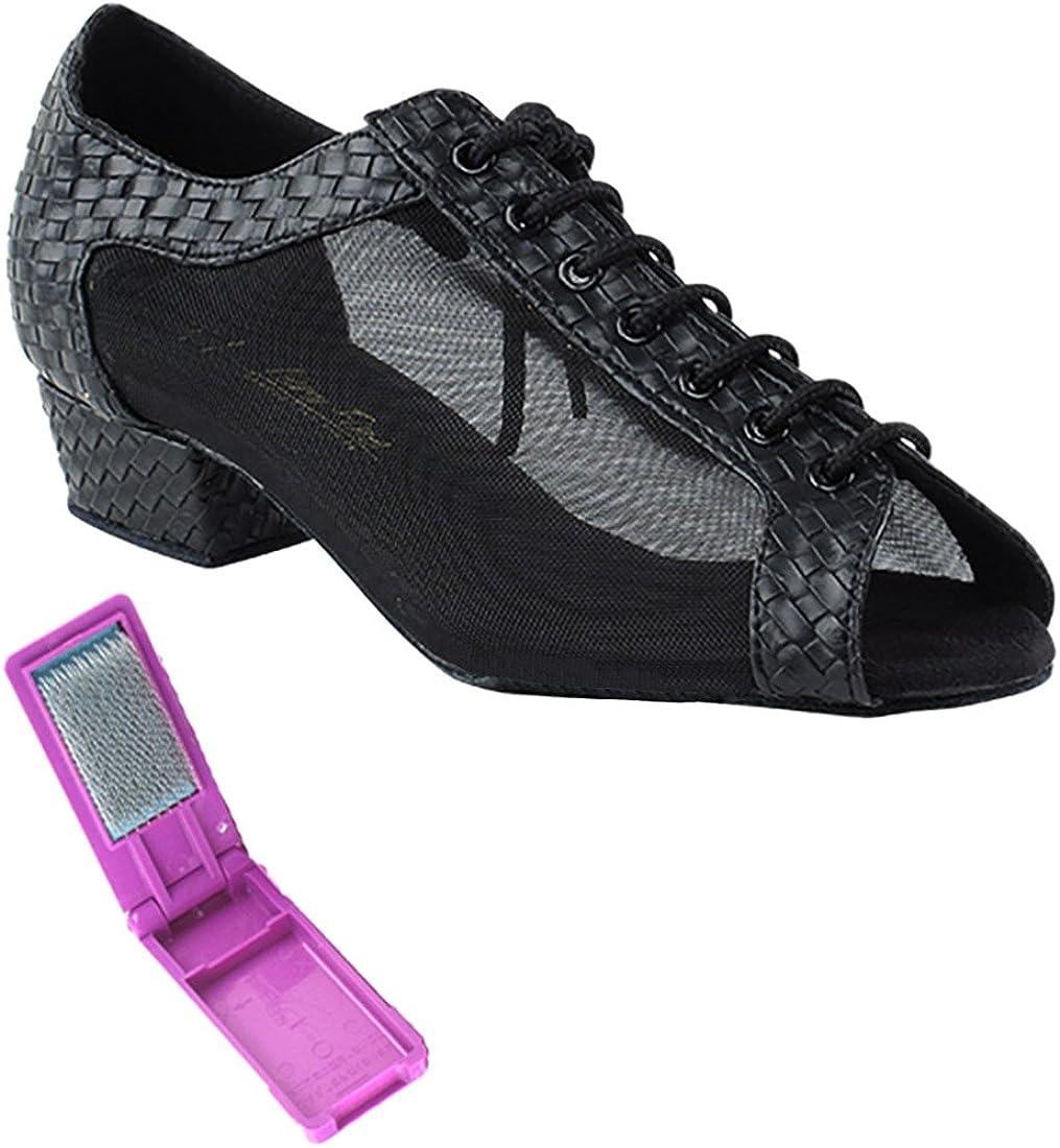 Very Fine Ballroom Salsa Practice Dance Shoes for Women 1643FT 1-Inch Heel + Foldable Brush Bundle