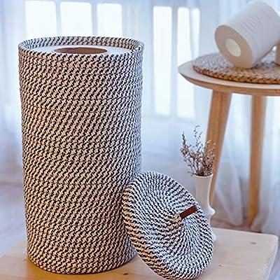 Caroeas Toilet Paper Holder, 3 Extra Mega Rolls Reserve Free Standing Toilet Paper Holder, Woven Bathroom Toilet Paper Holder, Collapsible Toilet Paper Storage with Lid, Toilet Paper Holder Stand