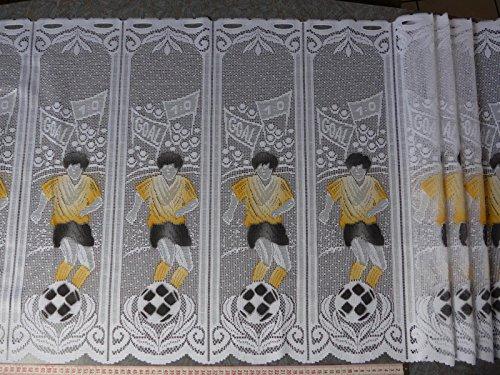 Scheibengardinenstoff mit Fußballspieler in gelb 60cm hoch