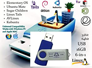Linux 6-in-1 Operating Systems Collection Install / Recovery MultiBoot Bootable USB Flash Thumb Drive for PCs and MAC