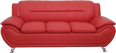 Amazon.com: Kingway Furniture Gilan Faux Leather Living Room ...
