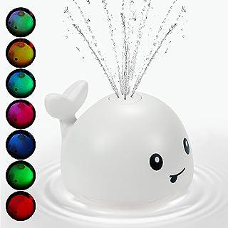 اسباب بازی حمام josid ، اسباب بازی حمام با چراغ LED ، اسباب بازی استخر کودک اسباب بازی وان حمام برای کودکان نوپا 1-5 دختر و پسر ، بازی بچه حمام ، اسباب بازی حمام آب اسپری نهنگ (سفید)
