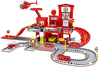 HMANE Parking Lot Car Garage Playset with Track Vehicle Toy Play Construction Toys Educational Gift for Kids - Firefighting 14