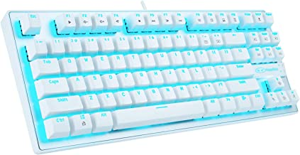 Anivia MK1 Mechanical Gaming Keyboard - Blue LED Backlit Mechanical Keyboards - Small Compact 87 Key Metal Mechanical Computer Keyboard USB Wired Blue Equivalent Switches for Windows PC Gamers - White