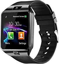 WJPILIS Smart Watch DZ09 Touchscreen Bluetooth Smartwatch Wrist Watch Sports Fitness Tracker with SIM SD Card Slot Camera Pedometer Compatible iPhone iOS Samsung Android for Kids Men Women (Black)