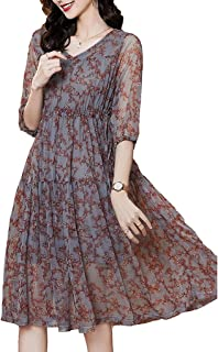 Summer Dresses For Women Short Sleeve V Neck Casual Loose Flowy Swing Dresses غير رسمي (Color : Floral, Size : L)