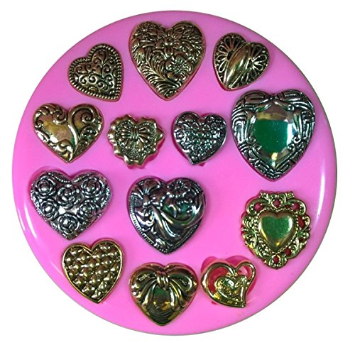 Vintage Victorian Heart Brooches 13 assorted designs Silicone Mould Mold for Cake Decorating Cake Cupcake Toppers Icing Sugarcraft Tool by Fairie Blessings