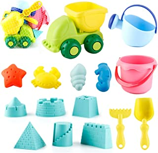 BOBXIN Kids Beach Toys Toddlers Beach Sand Toy Set with Bucket Castle and Sea Animals Molds,Truck Bucket,Beach Shovels Tool Kit, Watering Can, Soft Plastic Material Gift for Boys and Girls