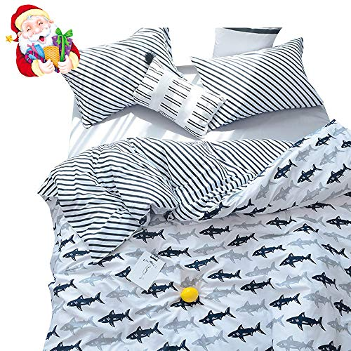 BuLuTu Navy Blue/Grey Shark Print Pattern Cotton US Queen Bedding Duvet Cover Sets(1 Duvet Cover 2 Pillow Shams) White for Kids Boys Full Quilt Bedding Sets with 4 Corner Ties Wholesale