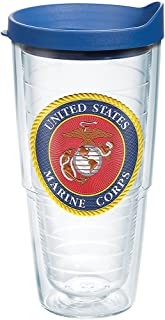 Tervis Marines Classic Seal Flex Tumbler with Emblem and Blue Lid 24oz, Clear