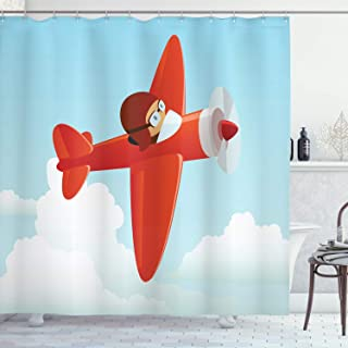 Ambesonne Plane Shower Curtain, Airplane Flying in The Cloudy Sky Little Boy Pilot Baby Children Cartoon Print, Cloth Fabric Bathroom Decor Set with Hooks, 70