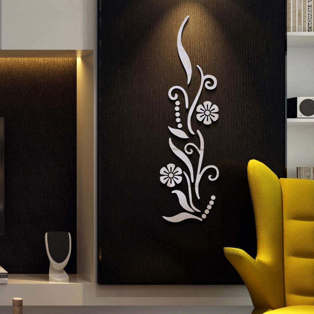 Flower Tree Decal 3D Mirror Wall Sticker DIY Removable Art Mural Home Room Decor
