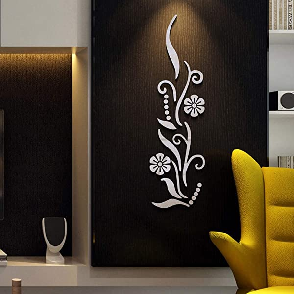 Quaanti Flowers Acrylic Mirror Wall Sticker DIY 3D Effective Wall Decor Removable Home Decoration Living Room Bedroom Mural Decal Wall Art Clearance Silver