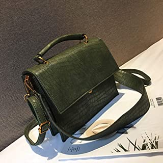 Women Casual Tote Bag Female Big Shoulder Messenger Bags Pu Leather Handbag (Colore : Green, Size : M)