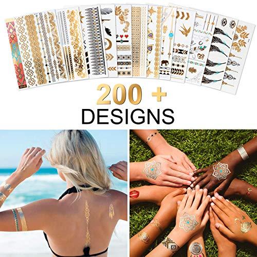 Temporäre Tattoo Flash Klebe Tattoos Wasserdicht Metallic Tätowierung 12 Sheets Gold & Silber Fake Tattoo mit Über 200 Mustern für Frauen und Mädchen MEHRWEG