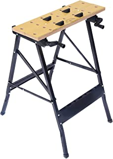 Goplus Folding Work Bench, 350lbs Weight Capacity Portable Workbench with Clamp, Pegs and Tool Holders (Foldable)
