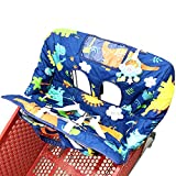 Shopping Cart Cover for Baby- 2-in-1 - Foldable Portable Seat with Bag for Infant to Toddler - Compatible with Grocery Cart Seat and High Chair - Dinosaur Pattern