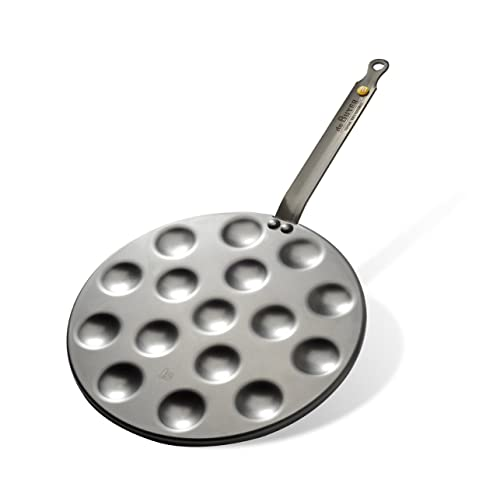 MINERAL B Round Carbon Steel Pan 10.75-Inch for cooking 16 Aebleskivers O 1.6-