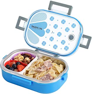 Stainless Steel Lunch Box with Removable Divided Container, Leakproof Portion Control Bento Boxes for Adults, Kids, School, Office, BPA Free (Rectangle, Blue)