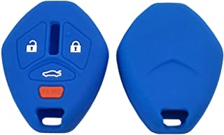 Pack 2 Silicone Key Fob Cover Protector Key Bag for Mitsubishi Eclipse Lancer Endeavor Galant Outlander Keyless Entry Remote Key Fob Case (Blue)