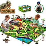 unanscre30Pcs Dinosaur Toys for Kids, Activity PlayMatw/ Trees, RealisticDinosaurFigures&Eggs, Xmas Gifts for Boys/Girls Age 3, 4, 5, 6, 7, 8