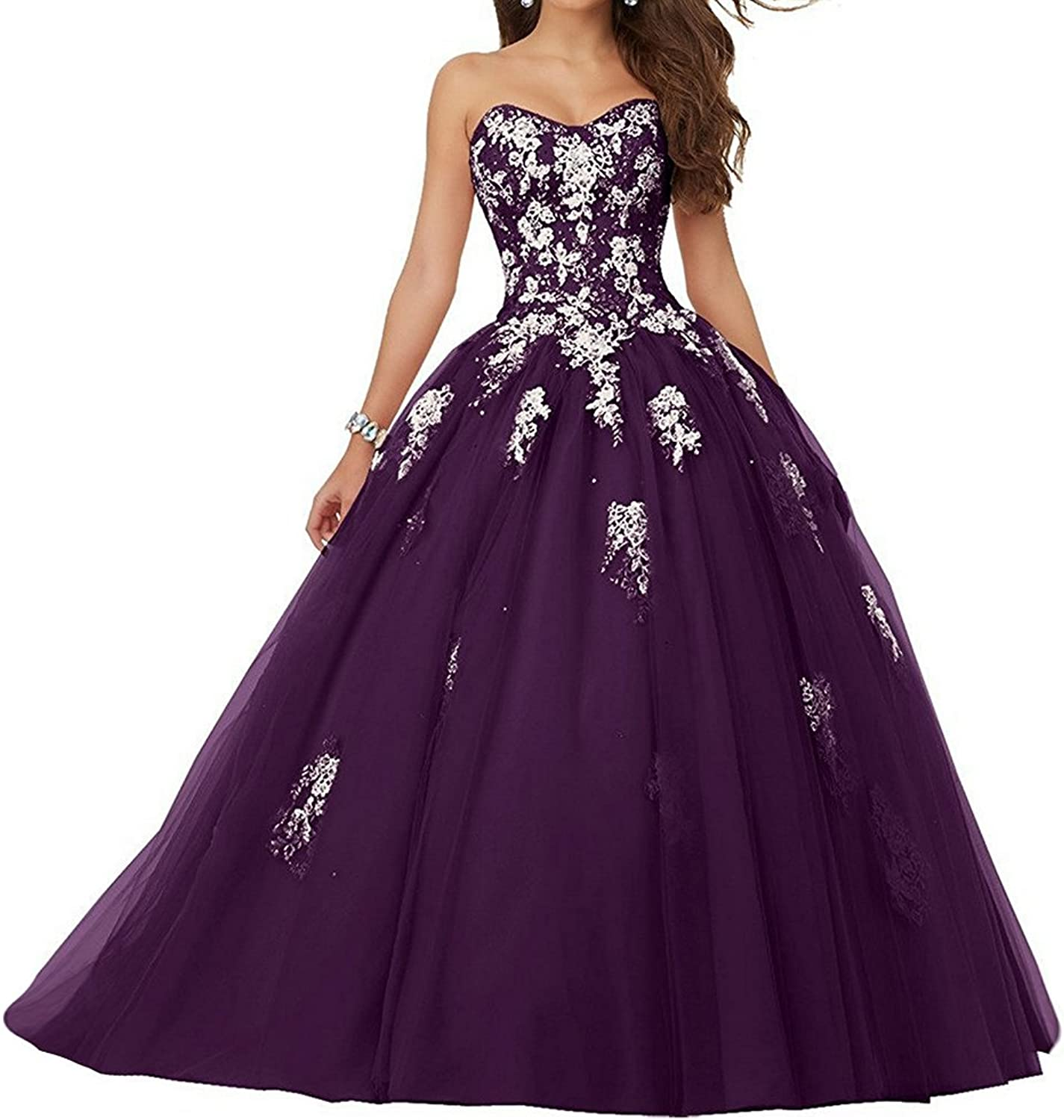 JAEDEN Prom Dress Ball Gown Quinceanera Dresses Lace Appliques Prom Gown Strapless Quinceanera Gown