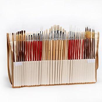 Juego de Pinceles para Pintar al /Óleo//Acr/ílica//Acuarela Juego de 15 pinceles de pinceles con estuche y esponja negras VIDEN Pinceles para Pintura