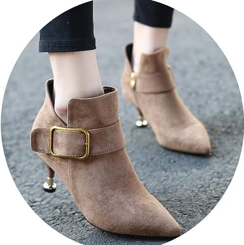 AZW@ botas de mujer Invierno Más Terciopelo Hebilla de Cinturón de Gamuza en Punta Salvaje Martin botas de Tacón Alto botas de Tacón botas Cortas zapatos de mujer