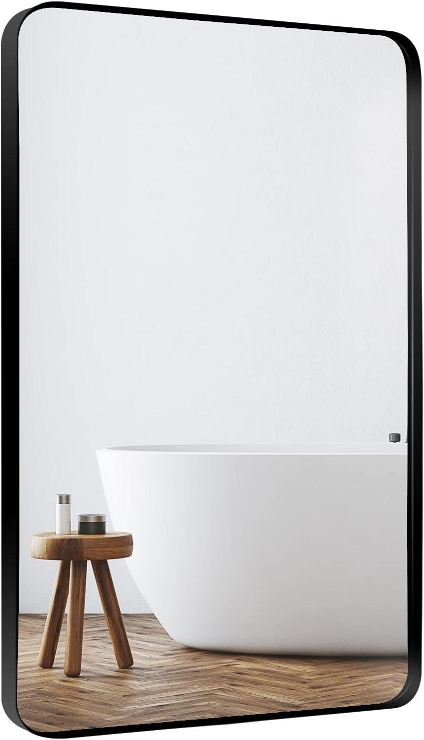 Buy Loaao Bathroom Mirrors For Wall 22x30 Rounded Rectangle Black Mirror Metal Framed Simple Modern Bathroom Vanity Mirror Anti Rust Shatter Proof Matte Finish Hangs Horizontal Or Vertical Online In Germany B08vhtfxp9
