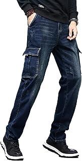 Men`s Cargo Jeans Regular Stretchy Motorcycle Distressed Denim Pants