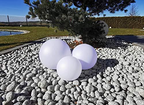 Trango 3er Set SO-202530 IP44 LED-Solarleuchte in 20-25-30cm Durchmesser Weiß matt mit 3000K warmweiß LED & RGB Farbwechsel LED *SNOWY* Solarkugel Leuchtkugel, Außenleuchte, Kugellampe, Gartenleuchte