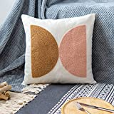 VANNCIO Modern Boho Throw Pillow Cover, Simple Textured Neutral Accent Pillowcase, Decorative Woven Cushion Sham for Bed Couch Sofa, 18x18 inches, 1 PC(Brown Pink)